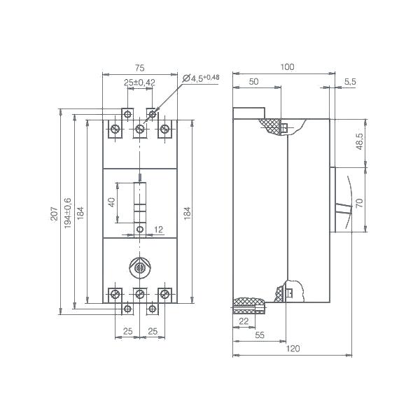 Габариты автоматического выключателя АЕ 2056